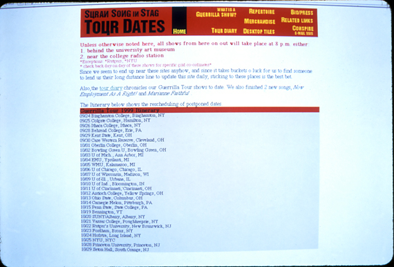 Pure Agitator Tour Itinerary website screenshot